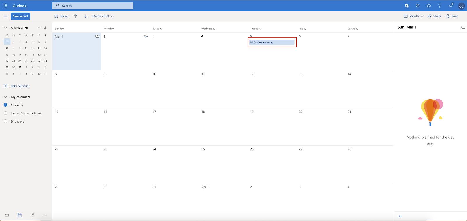 Calendario de Outllok