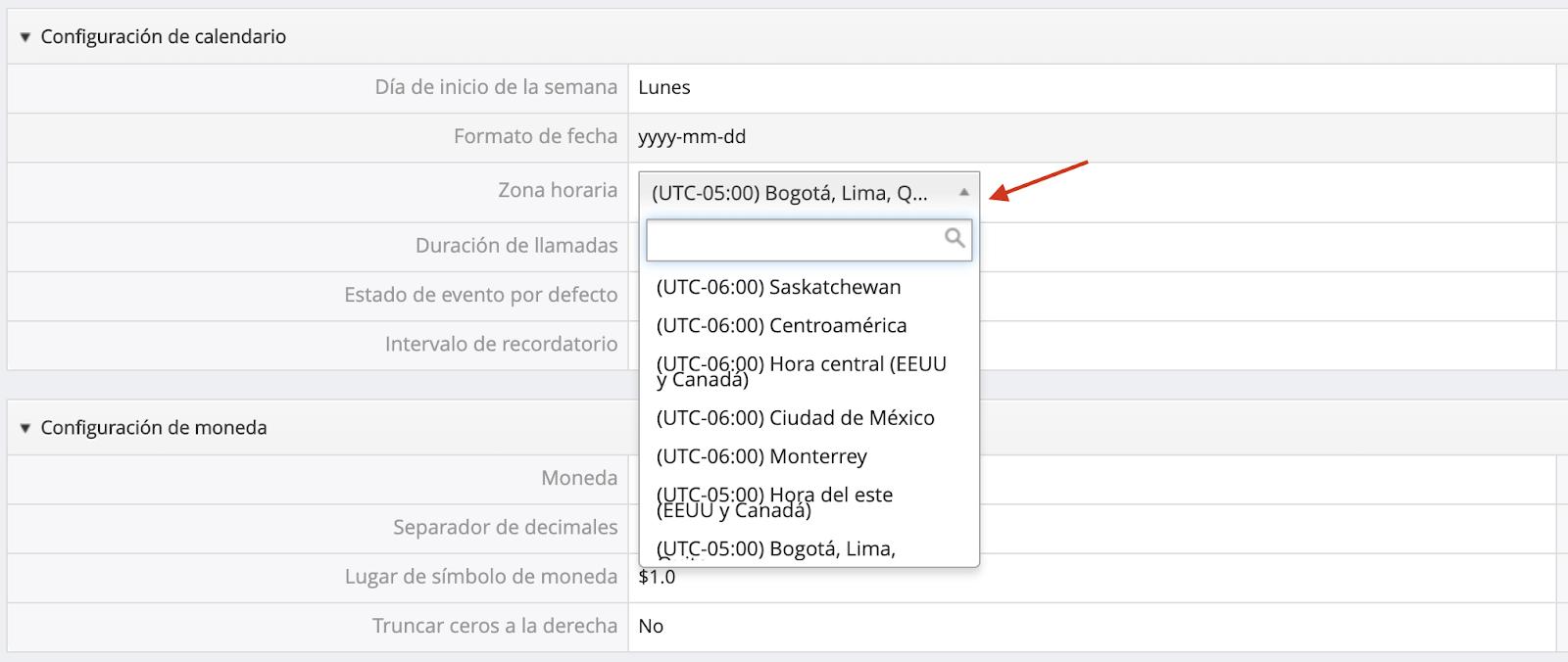 Escoger zona horaria DataCRM