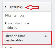 Editor de listas desplegables en DataCRM